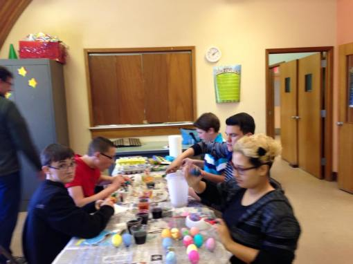 Sr. Youth decorate eggs & fill baskets for Robin's Nest