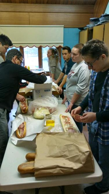 preparing hoagies for the Annual meeting